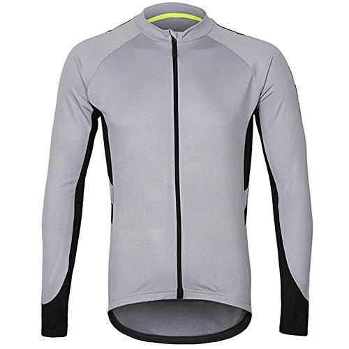 Yu$iOne Fahrradbekleidung Herbst, Windschutz Langarm Mantel Reflektierende Schnelltrocknende BelüFtung Fahrradjacke FüR MäNner Und Frauen Sportbekleidung,Gray,S