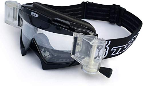 TWO-X Race Crossbrille Roll Off MX Brille schwarz Motocross Enduro Cross Goggle Schmutz Schutzbrille