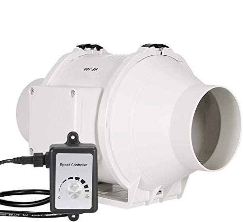 """Ventilador de conducto en línea, HG POWER 4"""" Ventilación con controlador de velocidad variable, ventilador extractor, motor EC 110 V-240 V para baño, tiendas de campaña, hidroponía"""