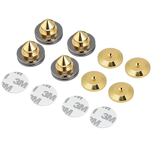 Set di Punte per Speaker in Rame da 4 Paia Altoparlante HiFi Amplificatore Audio DAC Supporto per Isolamento CD Piedini Conici Base Antiurto con Adesivo Biadesivo 3M (Gold)