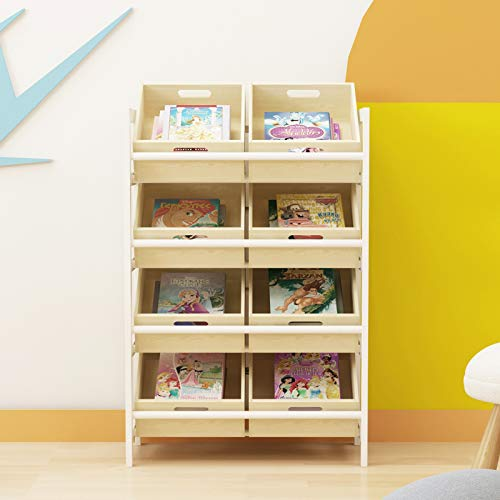 sogesfurniture Aufbewahrung Organizer mit 8 herausnehmbaren Holz Körben für Spielzeug, Bücher- & Aufbewahrung, mit Weißer Rahmen, 55x32x81cm, BHEU-SYS1011
