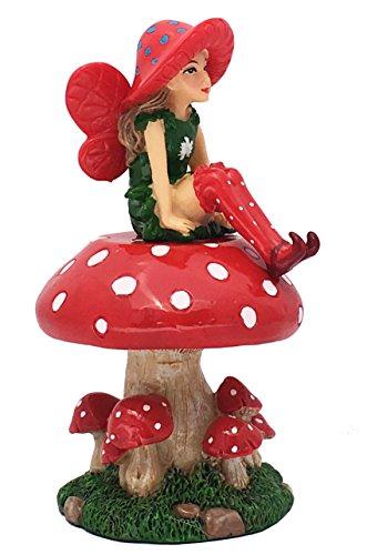 GlitZGlam Lulu la Fata con Fungo di Supporto smontabile per Il Tuo Giardino delle Fate/Giardino in Miniatura