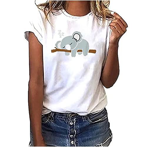 T-Shirts Sweatshirt Damen Kurzarm Rundhals Sommer Koala T Shirt Lässiges Tee Shirt Leicht Frauen Teenager Mädchen Tops(Weiß,S)