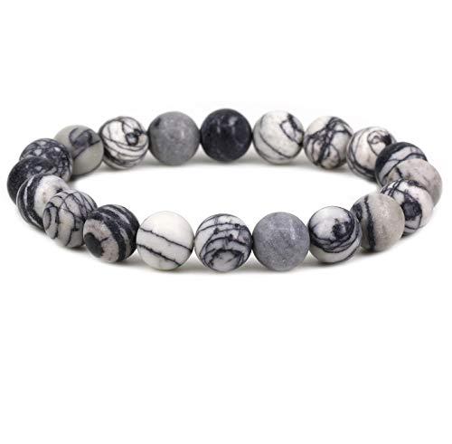 Keleny Black Matt Frosted Picasso Jasper Crystal Man Women Stretch Bracelet 10mm Round Beads Rock Jasper 7 Inch