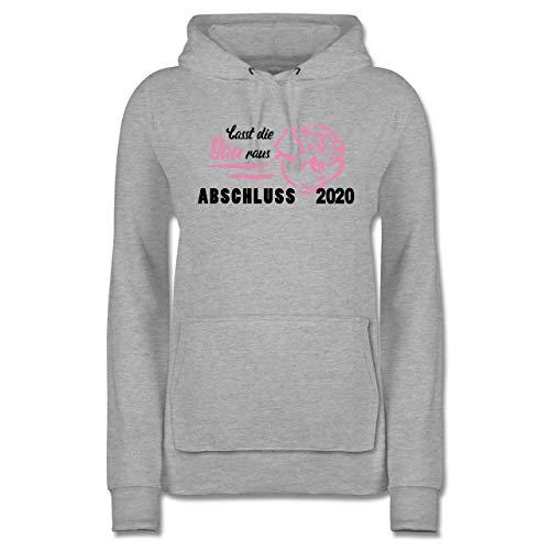 Abi & Abschluss - Lasst die Sau Raus - Abschluss 2020 - XS - Grau meliert - Saufen - JH001F - Damen Hoodie und Kapuzenpullover für Frauen