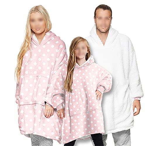 HGYJ Batamanta,Ropa para Padres e Hijos, Adultos y Niños Pueden Usar Mantas, Pijamas de Ropa para el Hogar de Talla Grande, Sudaderas con Capucha Gigantes,Pink1,Adult