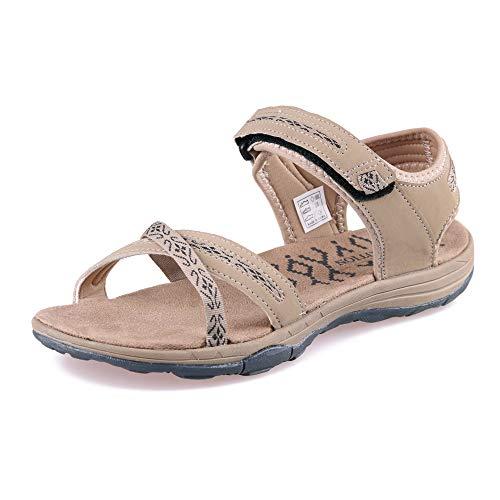 GRITION Sandalias Senderismo Mujer Verano Planas Trekking Confort, Secado rápido Ajustable Correas Puntera Abierta Damas Excursionismo Deportivas Zapatos 40EU Beige