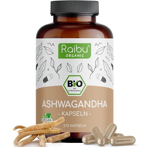 Raibu® Ashwagandha Kapseln BIO (270 Kapseln x 665mg) Hochdosiert I Ashwaganda Schlafbeere in bester Bio Qualität ohne Zusätze in Deutschland hergestellt