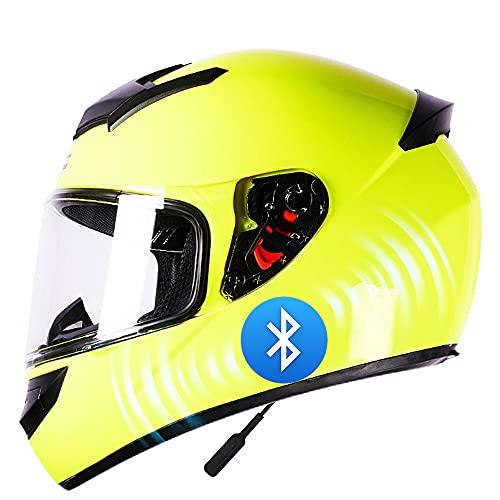 Cascos de Moto Integrales Bluetooth Dot/ECE Crash/Mofa/Moped/Scooter/Bobber/Chopper/Cruiser/Pilot Racing Cap Casco de Moto Antiniebla de una Sola Visera (55~64)