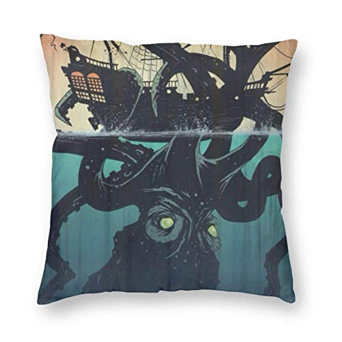 "Fcdraon Kraken Octopus Attack Pirate Ship Square Home Decor Square Throw Pillowcase Pillow Protector Best Pillow Cover for Bed 24""x24"""