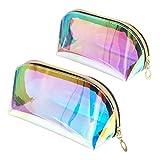 Jubaopen 2 Stück Transparent Kosmetiktasche Schminktasche Laser Kosmetiktasche mit Reißverschluss...