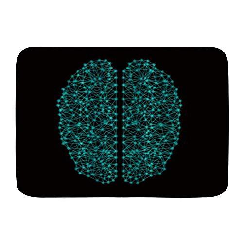 QIUTIANXIU Alfombra De Baño Cocina Mascota Alfombrilla,Vector Abstracto Cerebro,De Baño Antideslizante,Microfibra Suave Cómoda Y Absorbente