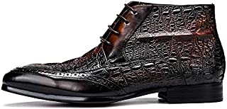 Color : Brown, Size : 39 EU KTYXGKL Mens Oxford Shoes Lace-up Boots with Gold Metal Formal Business Oxford Shoes with Pointed Shoes 37-44 Yards Mens Leather Boots