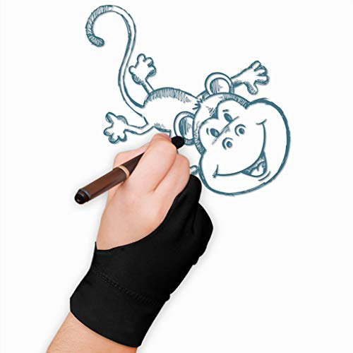 Artist Gloves for Tablet Graphic Gloves Black with 2 Fingers for Procreate on iPad Pro Painting Kit Anti-Fouling Design Gloves Protected Unisex