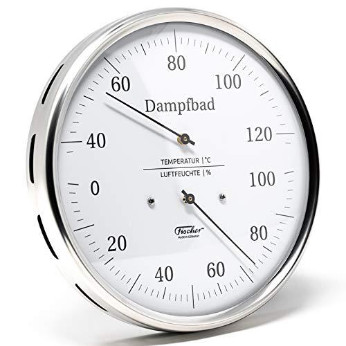 Fischer 183.01 – Termoigrometro per bagno a vapore, 160 mm, igrometro per capelli e termometro bimetallico in acciaio inox, Made in Germany