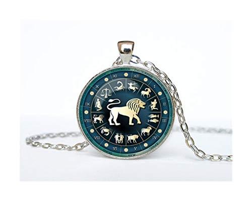 12 Constelación zodiacal Leo encantos de acero colgante símbolo de Piscis azul del zodiaco de Piscis Libra Astrología Sagitario Horóscopo Escorpio inoxidable plateado Joyería ( Metal Color : 6 )