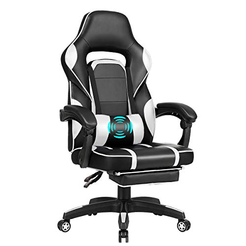 Giantex Massage Gaming Chair, Massage Lumbar Cushion and Retractable Footrest Racing Style Ergonomic High Back Office Chair, Adjustable Back Angle and Armrest Executive Computer Chair (White)