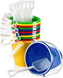 Top Race 5' Inch Beach Pails Sand Buckets and Sand Shovels Set for Kids 6 Pack | Beach and Sand Toys at The Beach | Use for Sand Molds at The Sandbox (Pack of 6)