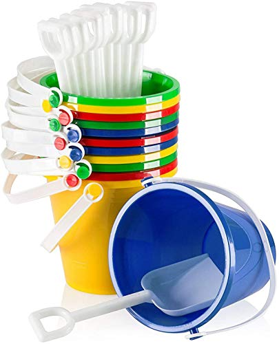 """Top Race 5"""" Inch Beach Pails Sand Buckets and Sand Shovels Set for Kids 6 Pack 