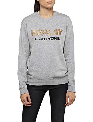 Replay Damen W3286F.000.21842 Sweatshirt, Grau (Light Grey Melange. M05), Small (Herstellergröße: S)