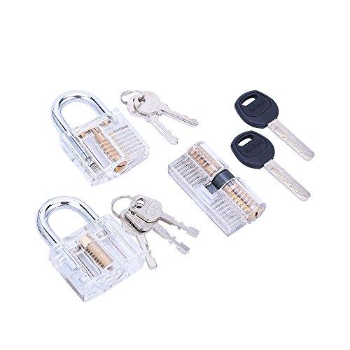 7pc Acrylic Multi Type Lock Transparent Padlock with Training Lock Practical