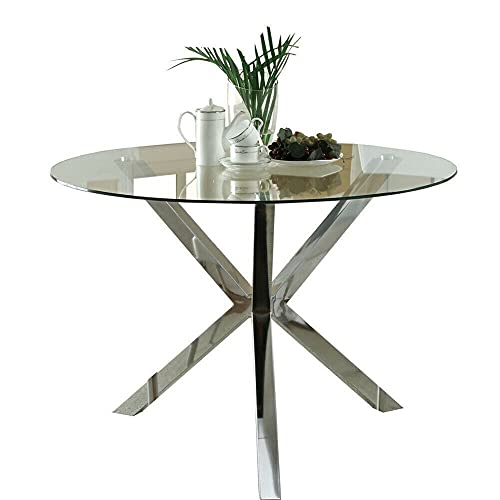 GXK 90cm Round Modern Glass Dining Table Kitchen Cafe Bar Tables Chrome Tripod Legs