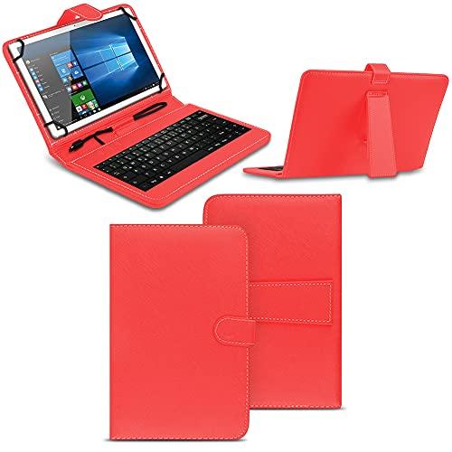 NAmobile Tastatur Schutzhülle kompatibel für Wortmann Terra Pad 1006 Tasche Keyboard USB Hülle QWERTZ Standfunktion Universal Cover, Farben:Rot