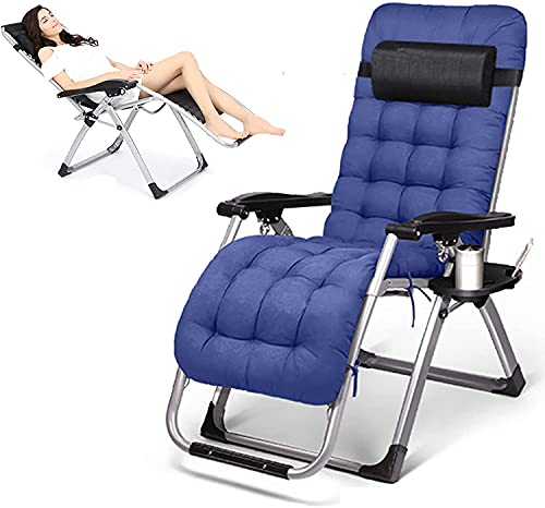 JAKWBR Silla reclinable para patio de alta resistencia con gravedad cero y plegable, silla de playa de gran tamaño, con cojín de gamuza extraíble/reposacabezas/bandeja