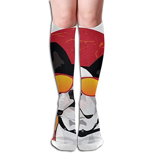 wwoman Nouveauté genou chaussettes hautes chien lunettes drapeau plein air course athlétique chaussettes longues unisexe