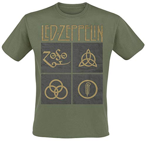 Led Zeppelin Herren Ledzeppelin_Gold Symbols Square_Men_Green_ts:1xl T-Shirt, Schwarz (Black Black), X-Large