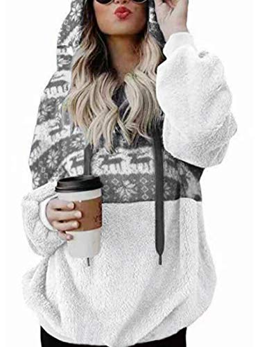 kenoce Femme Sweat de Noël Poilu à Capuche Pull Hoodie Sweat Shirt Noel Grande Taille Top à Manche Longue Col Rond Casual Hiver S-XXL A-Noël Gris XL