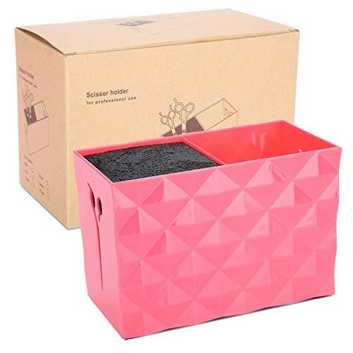 Peines de tijera Porta clips, caja de almacenamiento de peluquería, caja de almacenamiento de peluquería profesional de gran capacidad con caja doble, caja de almacenamiento drami(rojo)