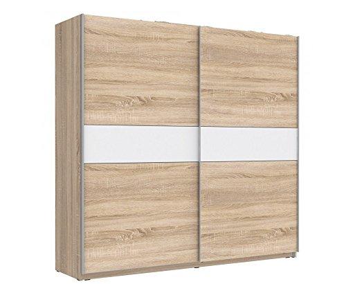 Furniture24 Schwebetürenschrank Winner Kleiderschrank Schlafzimmerschrank (Sonoma Eiche + weiß)