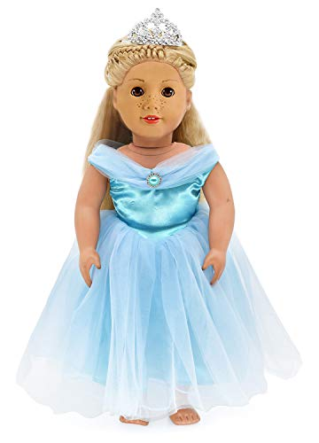 HWD Girls Doll Clothes and Accessories , Princess Costume , Wedding Dress , Party Gown Dress for American 18 inch Dolls (Blue2)