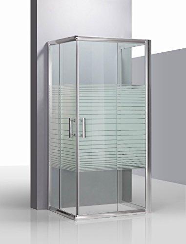 Piushopping - Cabina Doccia Box doccia tre lati in cristallo serigrafato con profilo in alluminio per bagno modello KATARIINA 70X90X70