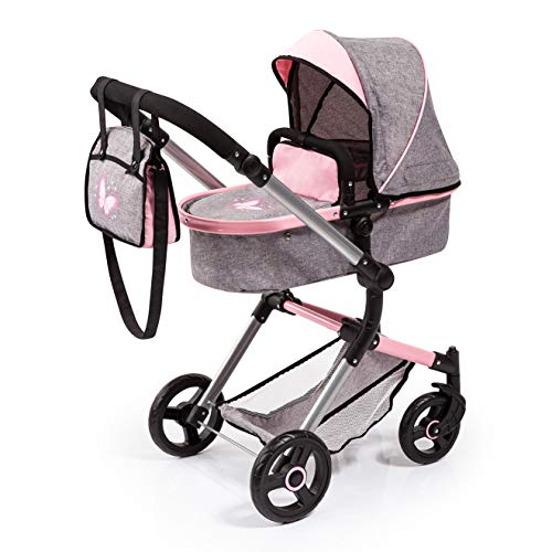 Bayer Design 18433AA Kombi Puppenwagen Neo Vario mit Wickeltasche und Einkaufskorb, umwandelbar in einen Sportwagen, höhenverstellbar, grau Jeans-Optik, rosa, Schmetterling