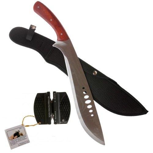 shoot-club24 Machete MP9 mit Holzgriff u. Cordurascheide, Edelstahl, Länge 47,5 cm (7986) + RWS Quick-Sharp Messerschärfer