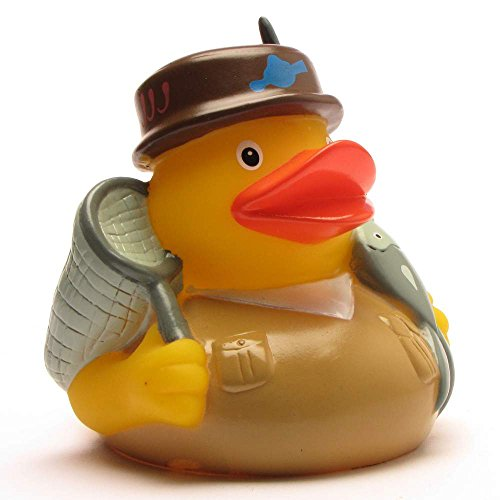 Duckshop I Angler Badeente I Quietscheentchen I Quietscheente - L: 8 cm - inkl. Badeenten-Schlüsselanhänger im Set