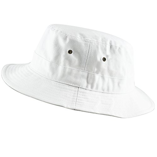100% Cotton Canvas Packable Summer Travel Bucket Hat (S/M, Canvas - White)