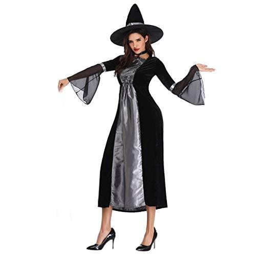 LXJ Traje de Maléfica Fiesta de Halloween Adulto Mujeres Fantasia Bruja Atractiva de Cosplay del Vestido Sombrero Disfraz Preso FC (Color : 01, Size : XL)