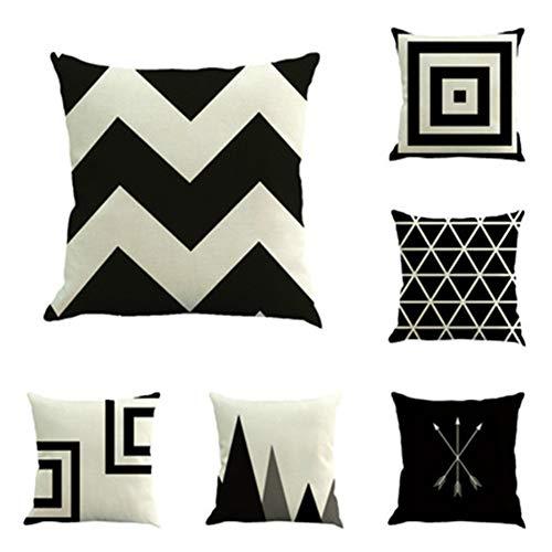Hunterace 6 pezzi/set fodera per cuscino in cotone lino bianco e nero a strisce rombo geometrico federa casa divano letto decorazione 18'x 18' (45 cm x 45 cm)