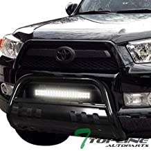 Topline Autopart Black Bull Bar Brush Push Bumper Grill Grille Guard With Skid Plate + 120W CREE LED Fog Light For 10-18 Toyota 4Runner