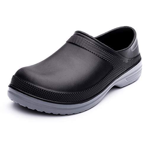 Eastcolor Zapatos de chef Zuecos de cocina, jardín, resistente al agua, resistente al agua, Negro, 11 Women/9 Men