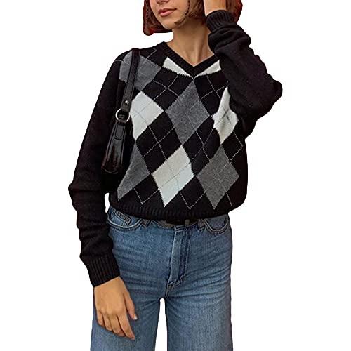 ZZLBUF Señoras cuello en V cable de punto Argyle Print Jumper Mujeres Stretch manga larga suéteres Top, Negro, L