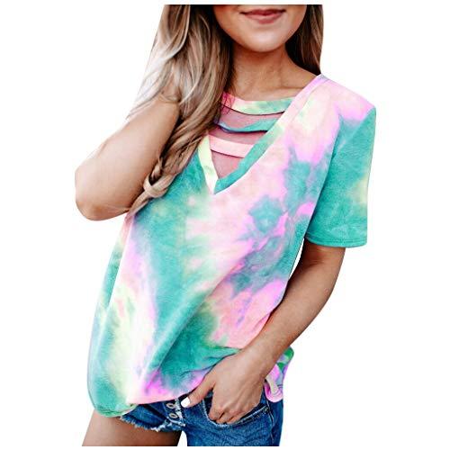 Xniral Damen Tie-Dye T-Shirt, Sommer V-Ausschnitt Kurzarm Beiläufig Slim Fit T-Shirt Tops(Grün,XL)