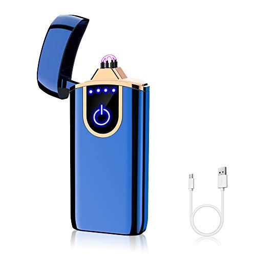 KIPIDA Elektronisches Feuerzeug mit Doppelbögen, wiederaufladbar, elektrisches Feuerzeug für Grill, Camping, Küche, Feuerzeug, ohne Flamme, Geschenk zum Muttertag