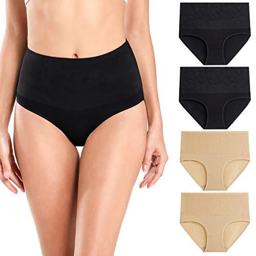 wirarpa Bragas Talle Alto Algodón para Mujer Cómodo elástico Braga Pantalones de Mujer Pack de 4 Negro, Beige Tamaño XL