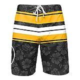 FOCO Pittsburgh Steelers NFL Mens Hibiscus Boardwalk Stripe Boardshorts - XL