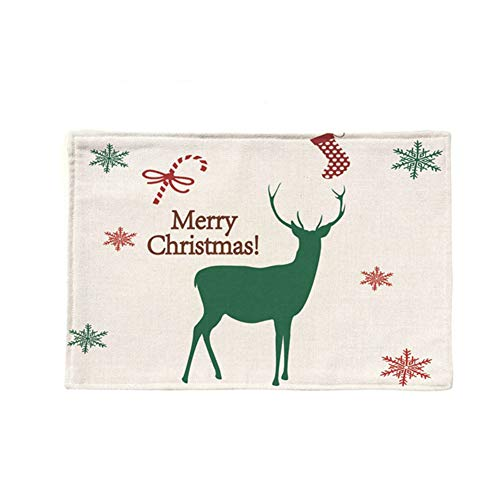 Fablcrew Sets de Table Noël en Linge de Maison Motif Cerf de Noël Vert pour Fête Dîner Décorations de Table de Noël Size 44 * 28 CM