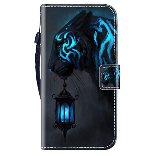 Sunrive Kompatibel mit Oppo F7 Hülle,Magnetisch Schaltfläche Ledertasche Schutzhülle Etui Leder Hülle Handyhülle Tasche Schalen Lederhülle MEHRWEG(Schwarzer Tiger B1)